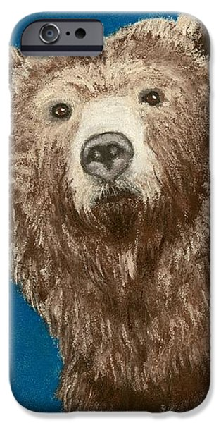 Fauna Pastels iPhone Cases - Bear iPhone Case by Anastasiya Malakhova