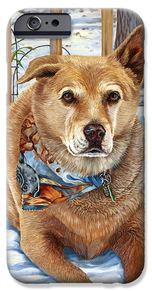 Dogs In Snow. Paintings iPhone Cases - Bear iPhone Case by Catherine Garneau