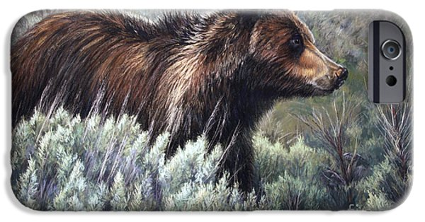 National Pastels iPhone Cases - Bear Crossing iPhone Case by Deb LaFogg-Docherty