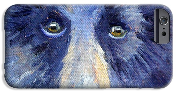 Business Paintings iPhone Cases - Bear Face iPhone Case by Nancy Merkle