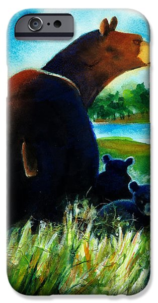 Minnesota Twins Mixed Media iPhone Cases - Bear Family at the Lake iPhone Case by Kathy Braud