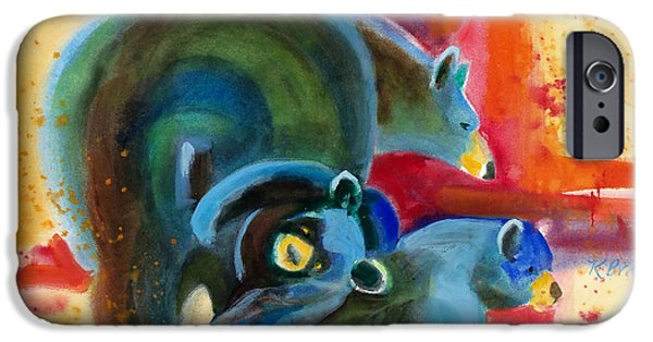 Blue Abstracts iPhone Cases - Bear Family in Red iPhone Case by Kathy Braud