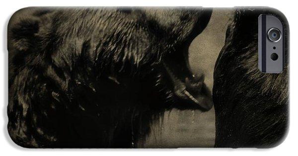 Kodiak iPhone Cases - Bear Fight iPhone Case by Dan Sproul
