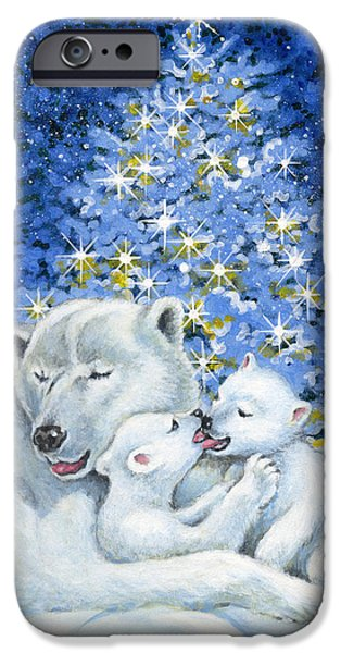Christmas Eve Paintings iPhone Cases - Bear Hug iPhone Case by Richard De Wolfe