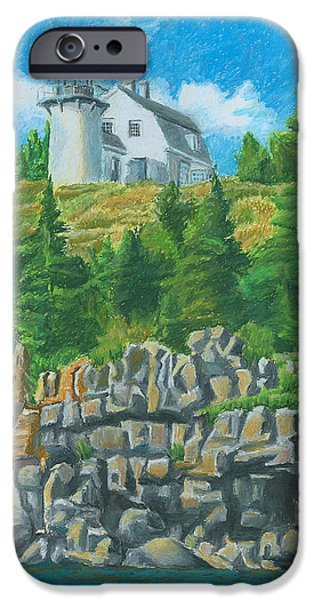 Maine Drawings iPhone Cases - Bear Island Lighthouse iPhone Case by Dominic White