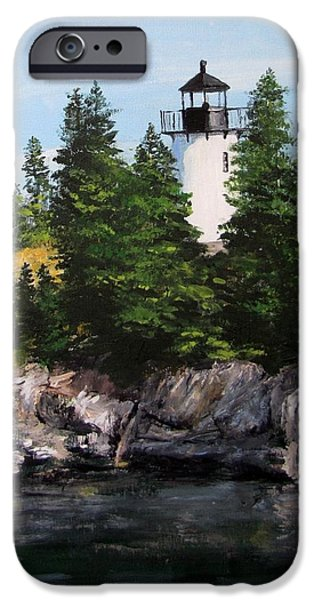 Jack Skinner Paintings iPhone Cases - Bear Island Lighthouse iPhone Case by Jack Skinner