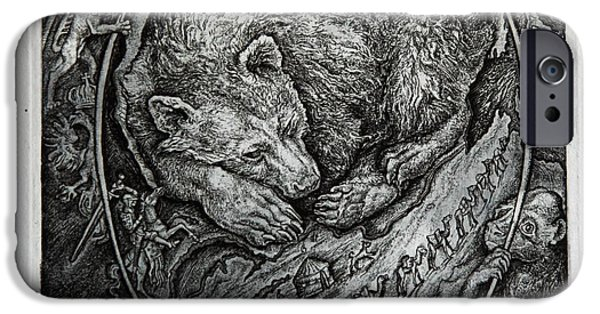 Drypoint iPhone Cases - Bear iPhone Case by Leonid Stroganov