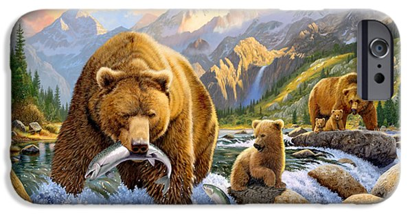 Animals Photographs iPhone Cases - Bear Salmon Fishing iPhone Case by Chris Heitt