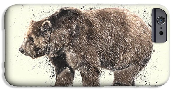 Crayons Drawings iPhone Cases - Bear Study iPhone Case by Taylan Soyturk