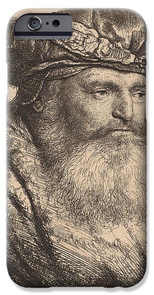 Signed Drawings iPhone Cases - Bearded Man in a Velvet Cap with a Jewel Clasp iPhone Case by Rembrandt