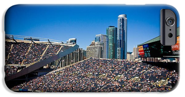 Soldier Field iPhone Cases - Bears Game and Skyscrapers iPhone Case by Anthony Doudt