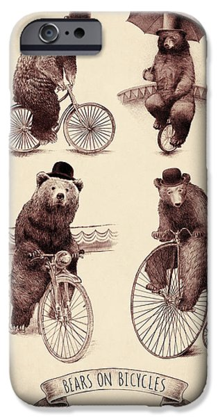 Performing iPhone Cases - Bears on Bicycles iPhone Case by Eric Fan