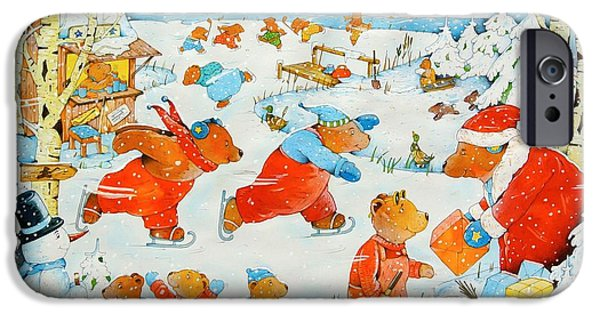 Snow Flake iPhone Cases - Bears On The Ice, 2009 Wc On Paper iPhone Case by Christian Kaempf