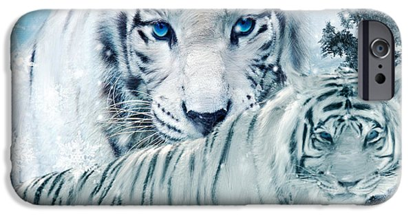 The Tiger Digital Art iPhone Cases - Beastly Buddies iPhone Case by Lourry Legarde