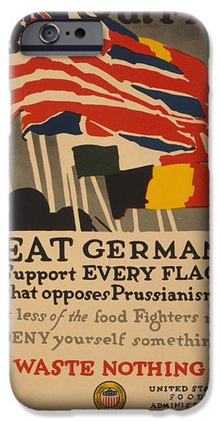 Wwi Drawings iPhone Cases - Beat Germany iPhone Case by Adolph Treidler