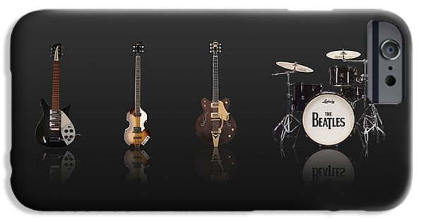 Beatles iPhone Cases - Beat of Beatles black iPhone Case by Six Artist