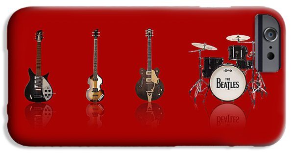 Starr iPhone Cases - Beat of Beatles red iPhone Case by Six Artist