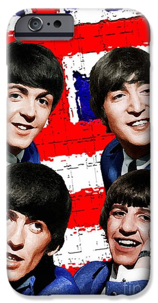 Beatles iPhone Cases - Beatles Anglo/USA iPhone Case by Frett Campbell