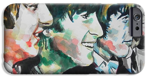 Blue Abstracts iPhone Cases - The Beatles 02 iPhone Case by Chrisann Ellis
