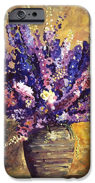 Floral Still Life Paintings iPhone Cases - Beaujolais Bouquet iPhone Case by David Lloyd Glover