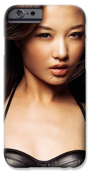 Worn Leather iPhone Cases - Beautiful asian woman with long flying brown hair iPhone Case by Oleksiy Maksymenko