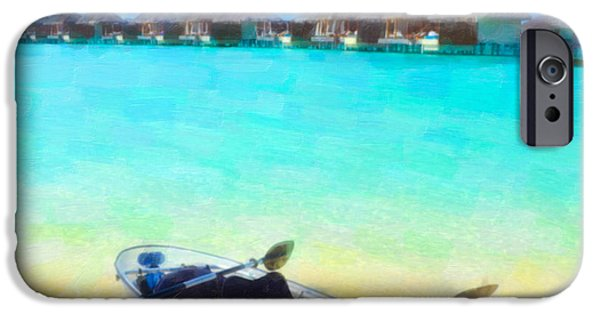 Wooden Platform Paintings iPhone Cases - Beautiful beach with water bungalows at Maldives iPhone Case by Lanjee Chee