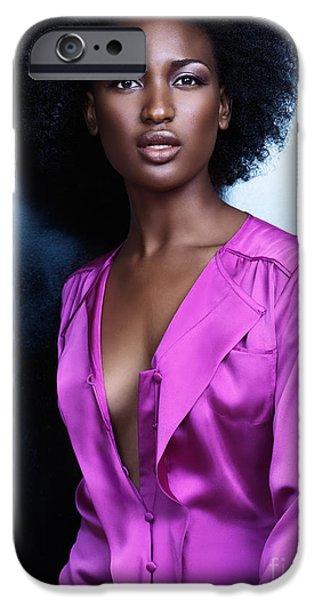 Big Hair iPhone Cases - Beautiful black woman in shiny purple shirt fashion photo iPhone Case by Oleksiy Maksymenko