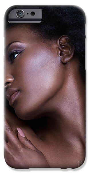 Big Hair iPhone Cases - Beautiful black woman sensual face portrait iPhone Case by Oleksiy Maksymenko