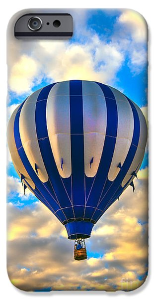 Colorado River Crossing iPhone Cases - Beautiful Blue Hot Air Balloon iPhone Case by Robert Bales