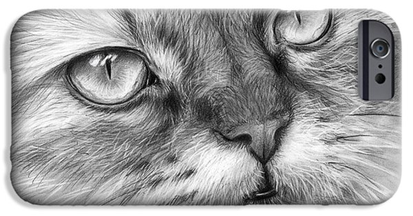 Black Portrait Drawings iPhone Cases - Beautiful Cat iPhone Case by Olga Shvartsur