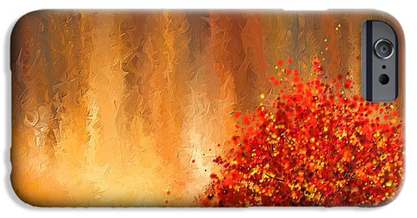 Red And Yellow iPhone Cases - Beautiful Change- Autumn Impressionist iPhone Case by Lourry Legarde