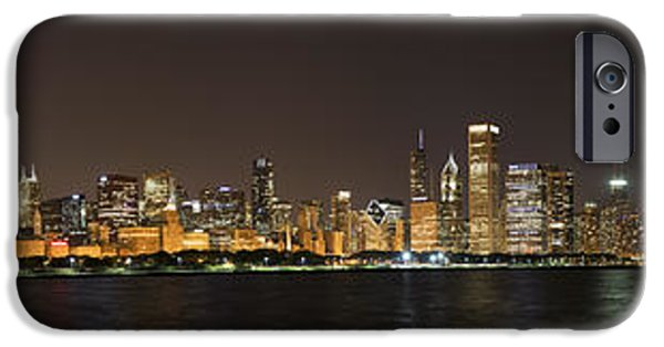 Fireworks Photographs iPhone Cases - Beautiful Chicago Skyline with Fireworks iPhone Case by Adam Romanowicz