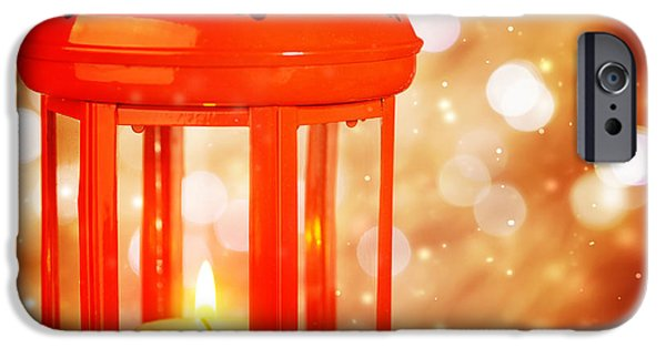 Night Lamp iPhone Cases - Beautiful Christmas lantern iPhone Case by Anna Omelchenko