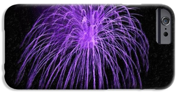 4th July Paintings iPhone Cases - Beautiful colorful holiday fireworks iPhone Case by Lanjee Chee