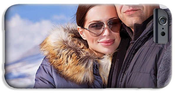 Snowy Day iPhone Cases - Beautiful couple on winter vacation iPhone Case by Anna Omelchenko