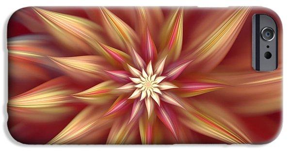 Asymmetrical iPhone Cases - Beautiful Dahlia Abstract iPhone Case by Georgiana Romanovna