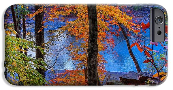 Colorful Abstract Pyrography iPhone Cases - Beautiful Fall a Colors in Bucks County Pa iPhone Case by Jeremy  Shusman