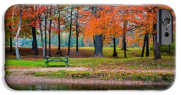 Fall Foliage iPhone Cases - Beautiful Fall Foliage in New Hampshire iPhone Case by Edward Fielding