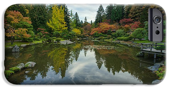 Japanese Garden iPhone Cases - Beautiful Fall Japanese Garden iPhone Case by Mike Reid