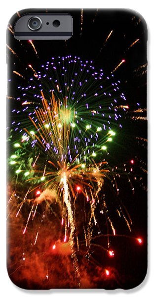 4th Of July iPhone Cases - Beautiful Fireworks Works iPhone Case by Kim Pate