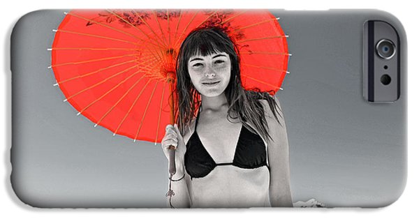 Recently Sold -  - Young iPhone Cases - Beautiful Freckle Faced Model  At The Beach Altered Version iPhone Case by Jim Fitzpatrick
