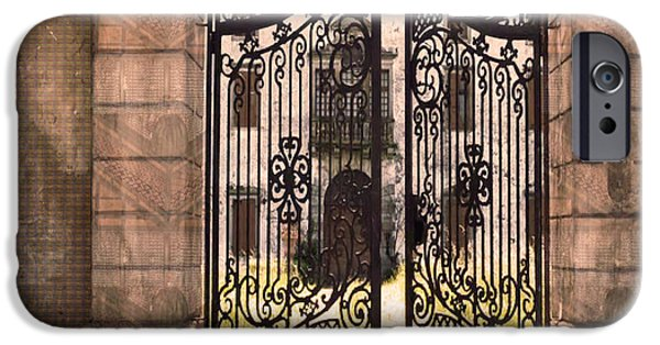 Buildings Mixed Media iPhone Cases - Beautiful Gates Vintage Construction Palaces and Mansions iPhone Case by Navin Joshi