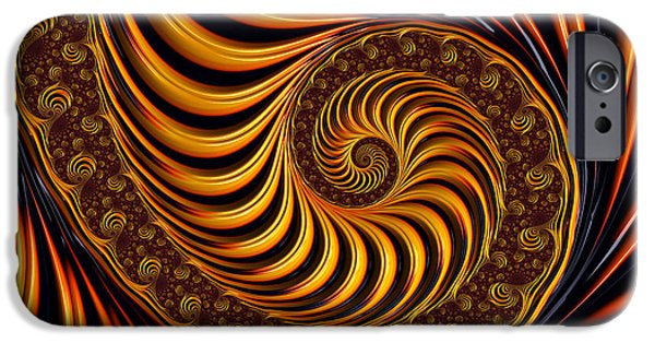 Abstract Digital Art iPhone Cases - Beautiful golden fractal spiral artwork  iPhone Case by Matthias Hauser