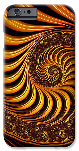 Beautiful golden fractal spiral artwork  iPhone Case by Matthias Hauser