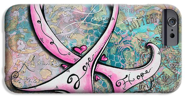 Courage iPhone Cases - Beautiful Inspirational Elegant Pink Ribbon Design Art for Breast Cancer Awareness iPhone Case by Megan Duncanson