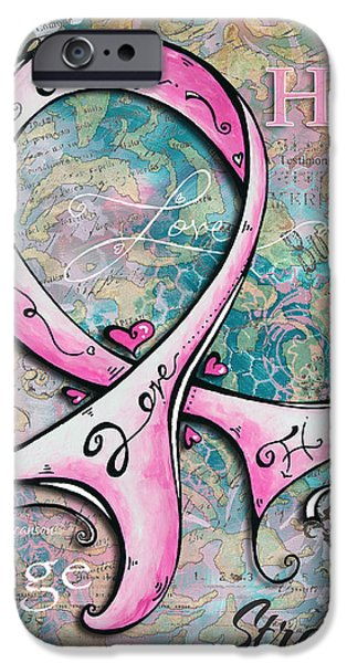 Beautiful Inspirational Elegant Pink Ribbon Design Art for Breast Cancer Awareness iPhone Case by Megan Duncanson