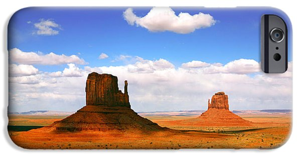 United Pyrography iPhone Cases - Beautiful Landscape of  Monument Valley Arizona iPhone Case by Katrina Brown