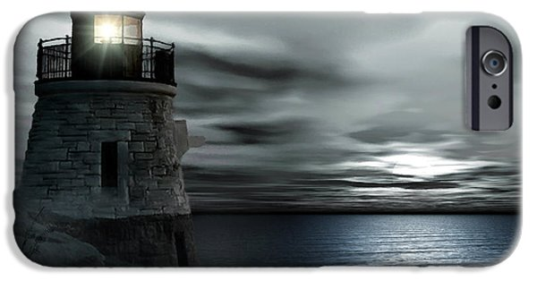 New England Lighthouse iPhone Cases - Beautiful Light In The Night iPhone Case by Lourry Legarde