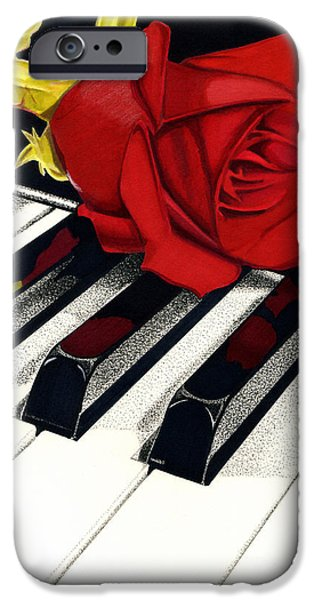 Piano Drawings iPhone Cases - Beautiful Music iPhone Case by Cory Still
