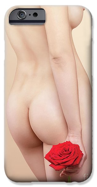 Voluptuous iPhone Cases - Beautiful Naked Woman with a Rose iPhone Case by Oleksiy Maksymenko
